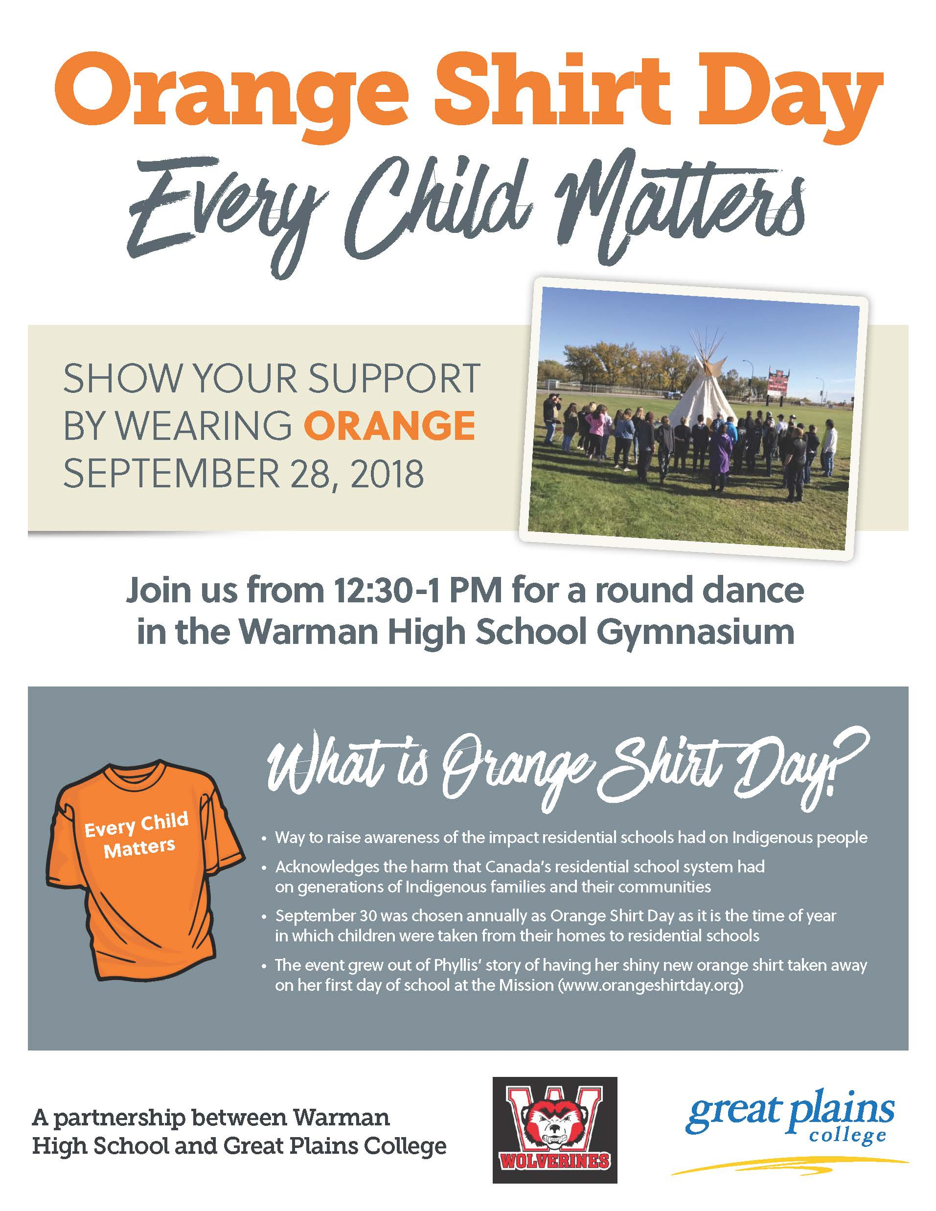 Poster explaining the Orange Shirt Day event.